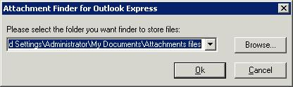 Attach Finder for Outlook Express select destination dialog